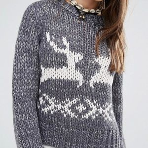 Free People Reindeer Knit Sweater